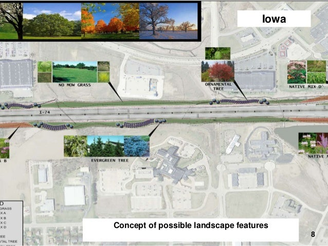 Iowa  I-74 Final Design – Landscaping  Concept of possible landscape features 8