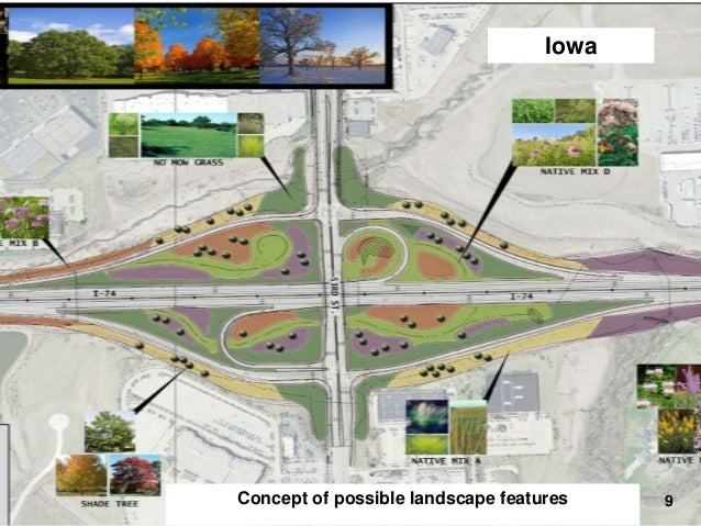 Iowa  I-74 Final Design – Landscaping  Concept of possible landscape features  9