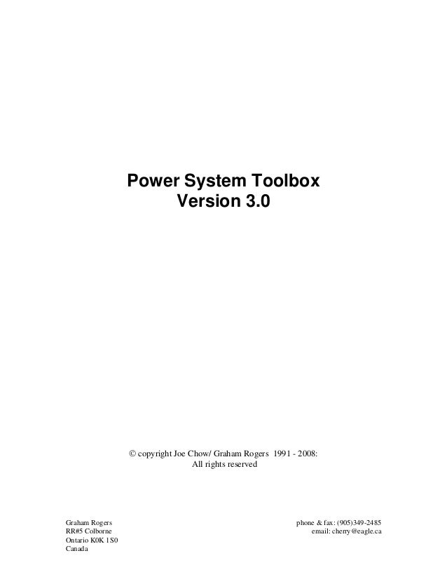 Manual Power System Toolbox