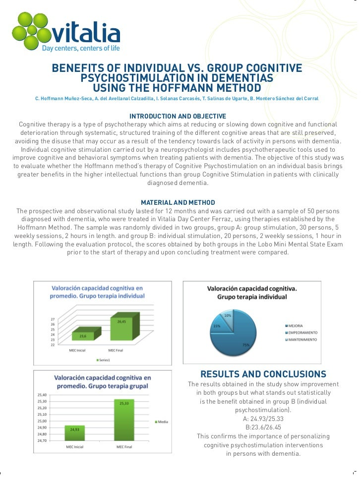 BENEFITS OF INDIVIDUAL VS. GROUP COGNITIVE                   PSYCHOSTIMULATION IN DEMENTIAS                     USING THE ...