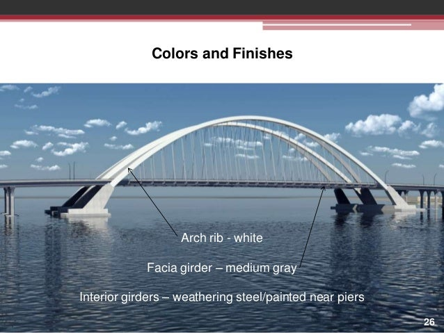 Colors and Finishes  Arch rib - white Facia girder – medium gray Interior girders – weathering steel/painted near piers 26