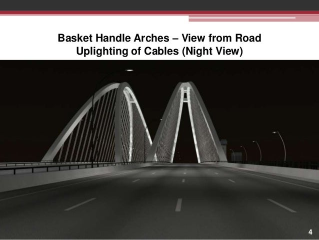 Basket Handle Arches – View from Road Uplighting of Cables (Night View)  4