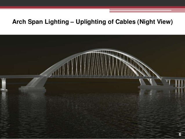 Arch Span Lighting – Uplighting of Cables (Night View)  6