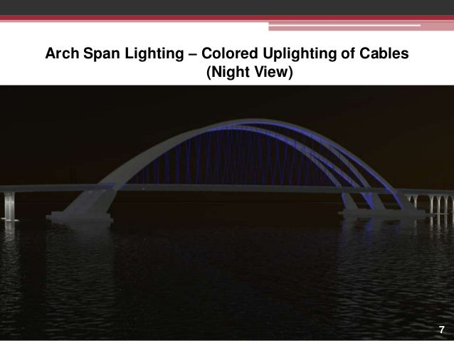 Arch Span Lighting – Colored Uplighting of Cables (Night View)  7