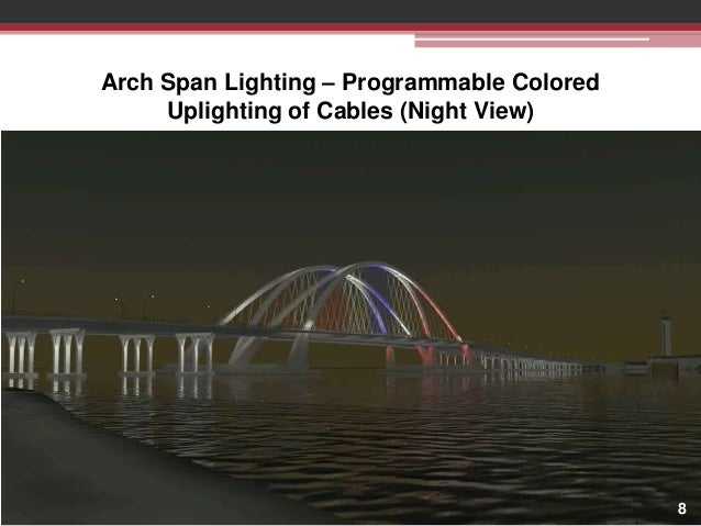 Arch Span Lighting – Programmable Colored Uplighting of Cables (Night View)  8