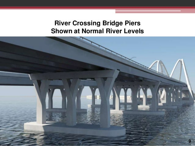 River Crossing Bridge Piers Shown at Normal River Levels  9
