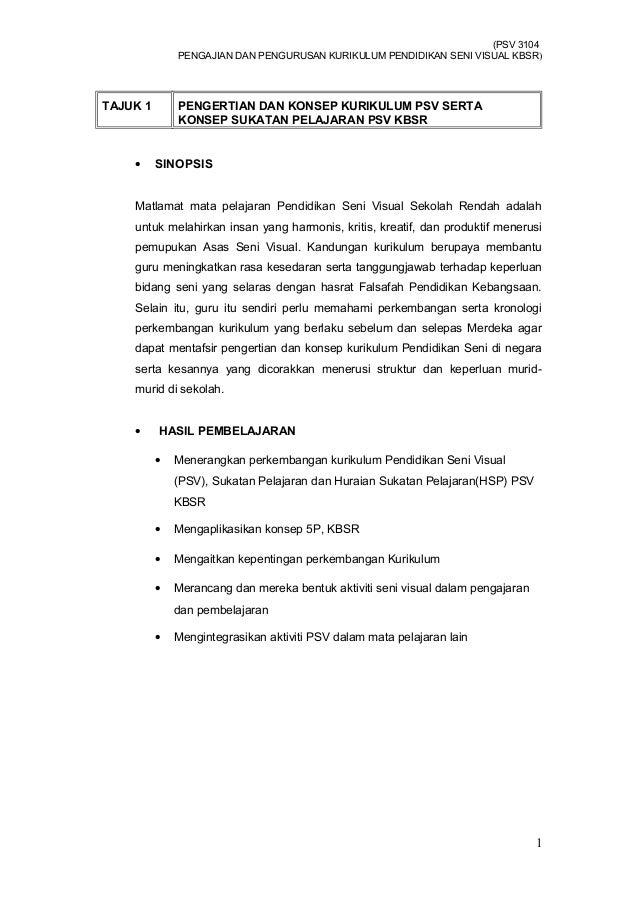 (PSV 3104PENGAJIAN DAN PENGURUSAN KURIKULUM PENDIDIKAN SENI VISUAL KBSR)TAJUK 1 PENGERTIAN DAN KONSEP KURIKULUM PSV SERTAK...