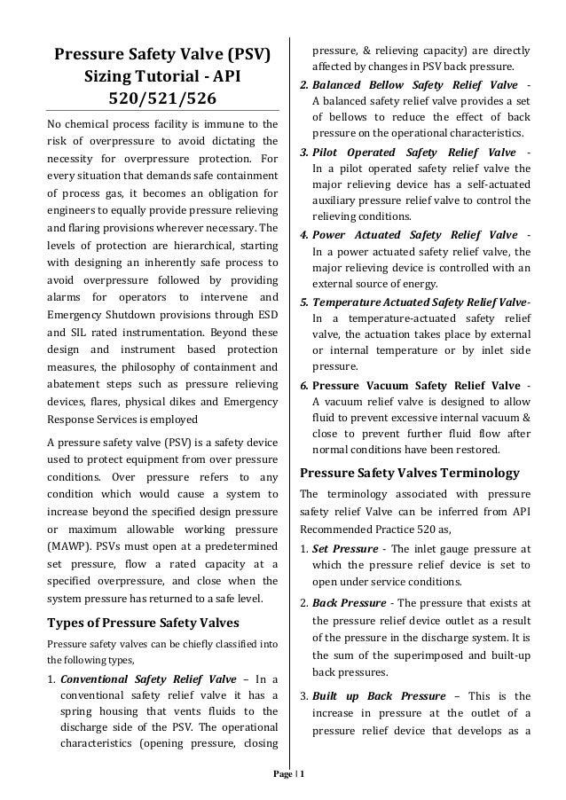 Pressure Safety Valve Psv Sizing Tutorial Api 520 521 526