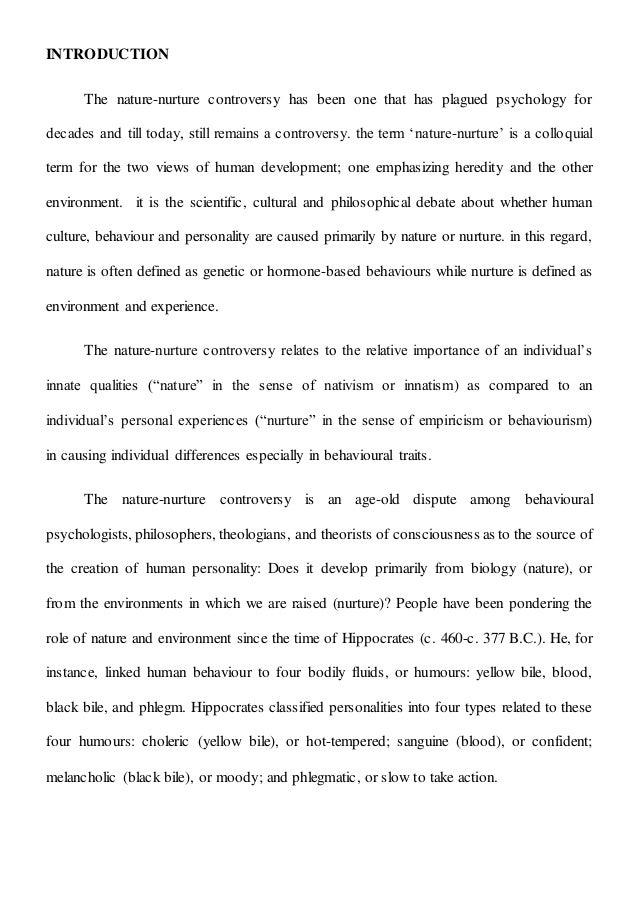 An analysis of the idea nature versus nurture in psychology
