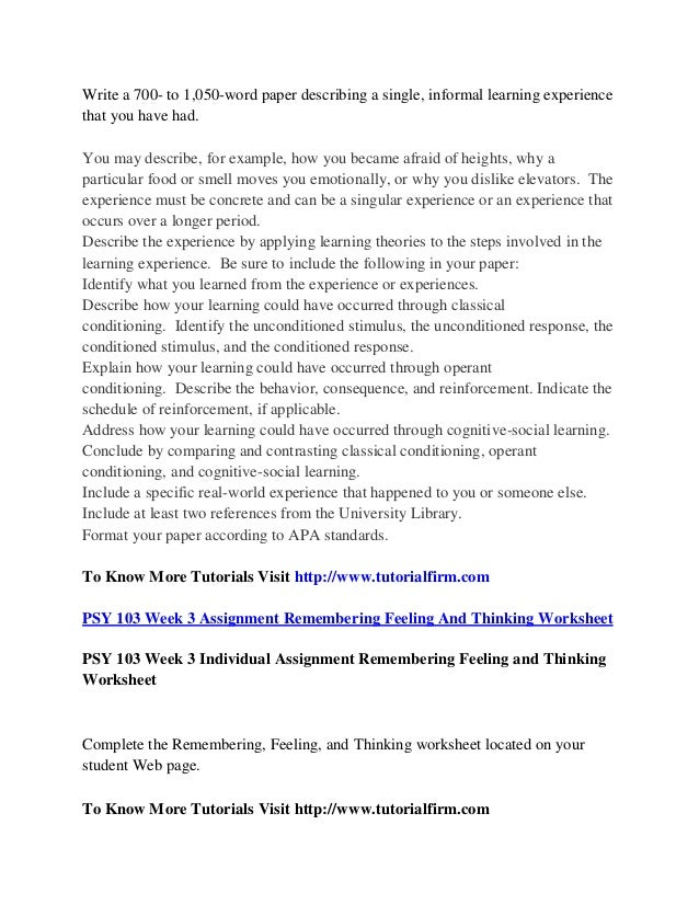 a single informal learning experience paper The forms of informal learning: towards a conceptualization of the field by daniel schugurensky wall working paper no19, 2000 centre for the study of education and work.