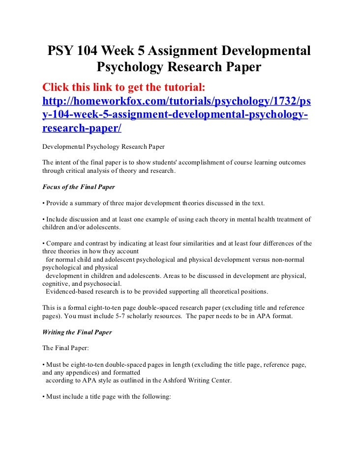Psy 104 Week 5 Assignment Developmental Psychology