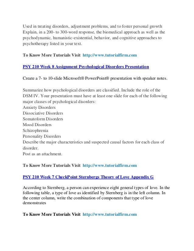 psy 210 week 8 psychological disorders presentation Include 8-10 sources on contemporary approaches to treatment based on  psy 410 week 5 individual  psy 410 week 5 psychological disorders presentation.