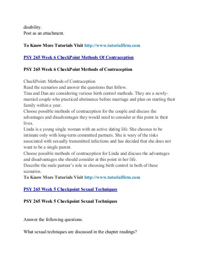 Psy 265 week 6 CheckPoint Methods of Contraception