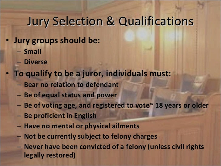 Qualification and selection of the jury