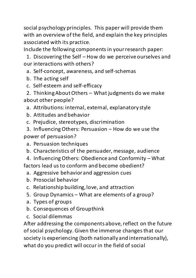 psy week final paper social psychology bringing it all together  3 social psychology principles