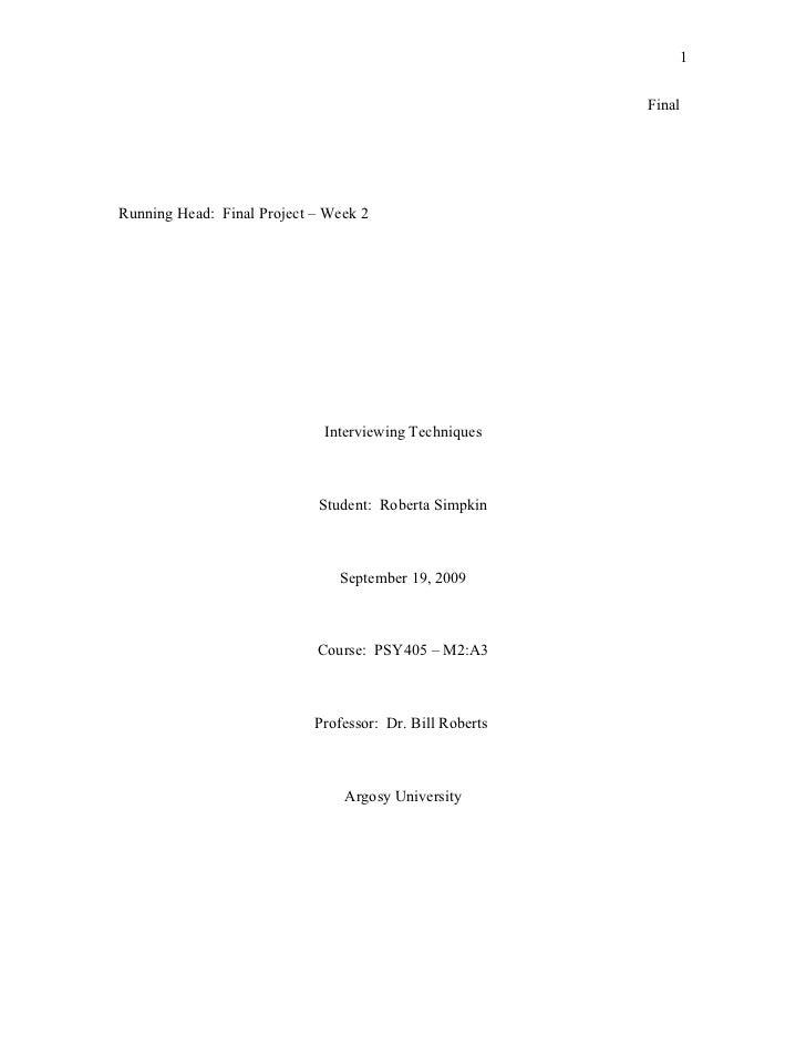 1                                                          FinalRunning Head: Final Project – Week 2                      ...