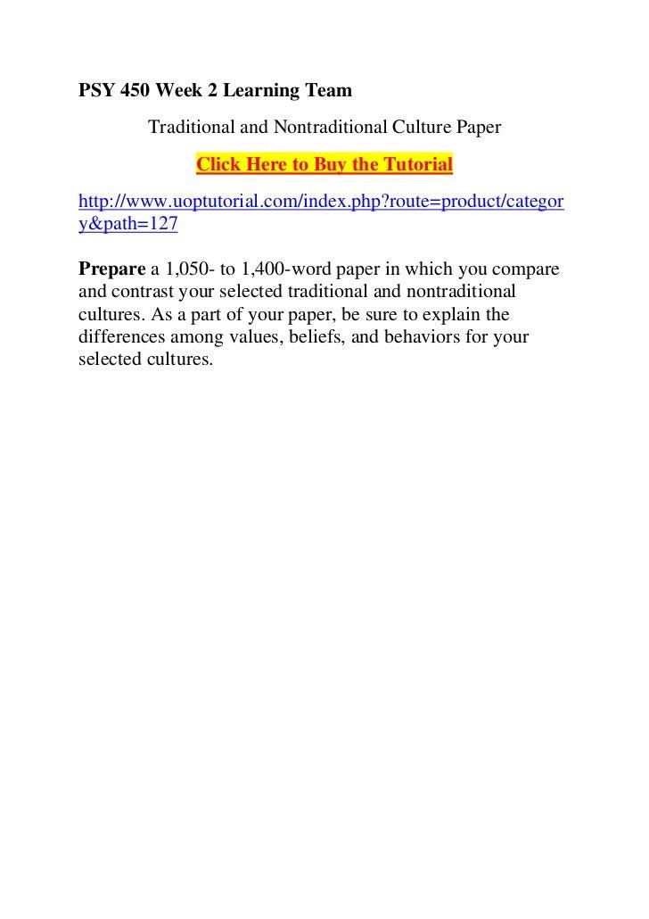 PSY 450 Week 3 Psychological Disorder