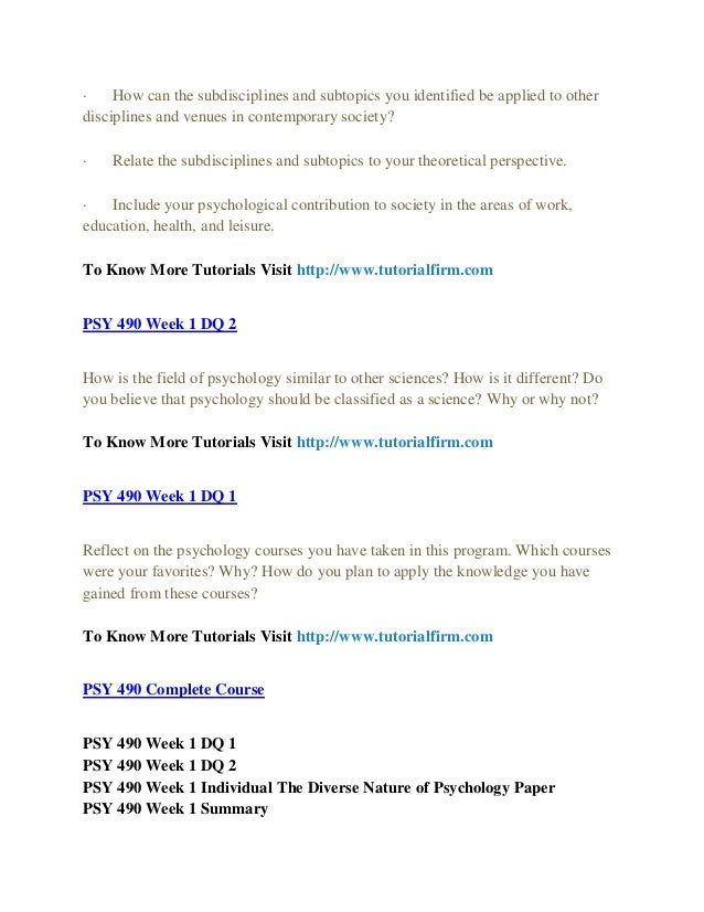 PSY 490 Week 1 Individual Assignment The Diverse Nature Of Psychology Paper
