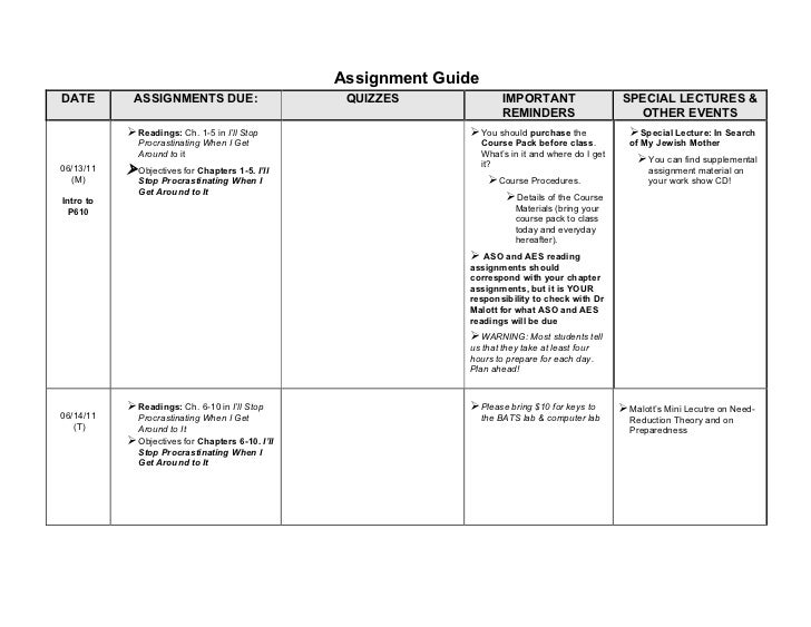 Assignment GuideDATE        ASSIGNMENTS DUE:                       QUIZZES                IMPORTANT                    SPE...