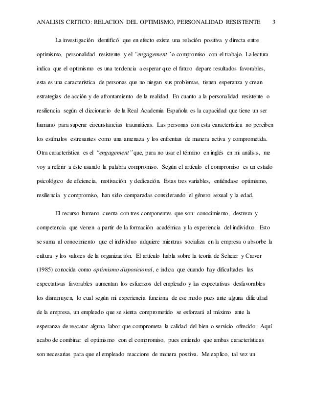 """Análisis crítico: Relación del optimismo, personalidad resistente y """"engagement"""" en el trabajo Slide 3"""