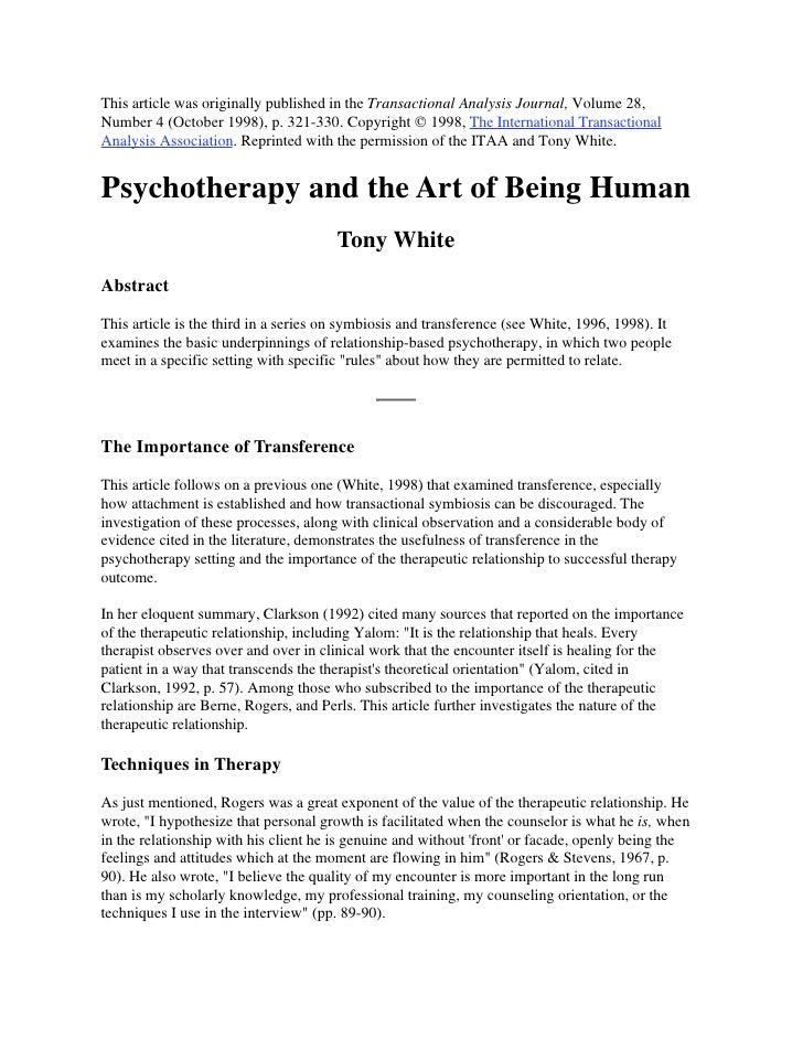 This article was originally published in the Transactional Analysis Journal, Volume 28, Number 4 (October 1998), p. 321-33...