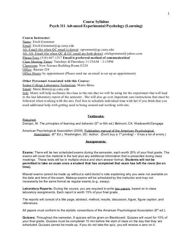 Course Syllabus Psych 311 Advanced Experimental Psychology (Learning) Course Instructor: Name: Erich Grommet Email: Erich....