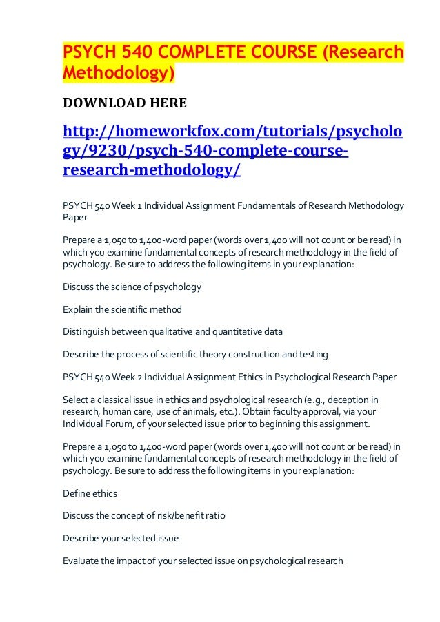 PSYCH 540 COMPLETE COURSE (ResearchMethodology)DOWNLOAD HEREhttp://homeworkfox.com/tutorials/psychology/9230/psych-540-com...