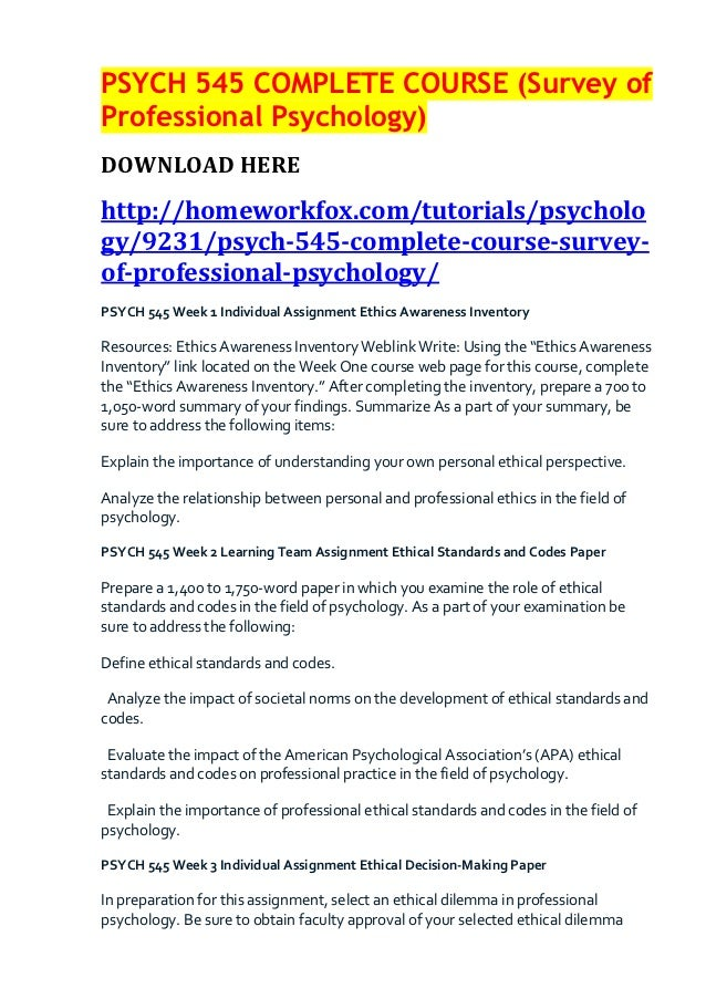 PSYCH 545 COMPLETE COURSE (Survey ofProfessional Psychology)DOWNLOAD HEREhttp://homeworkfox.com/tutorials/psychology/9231/...
