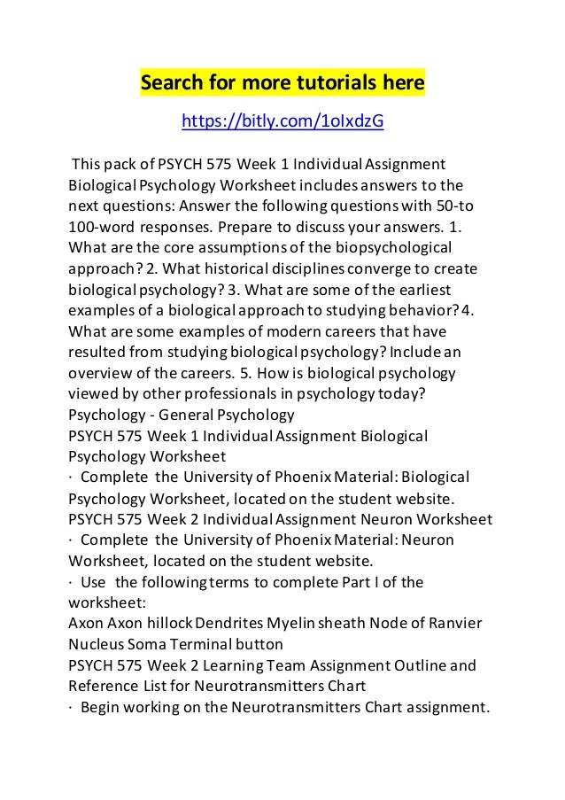 Psych 575 week 1 individual assignment biological psychology worksheet