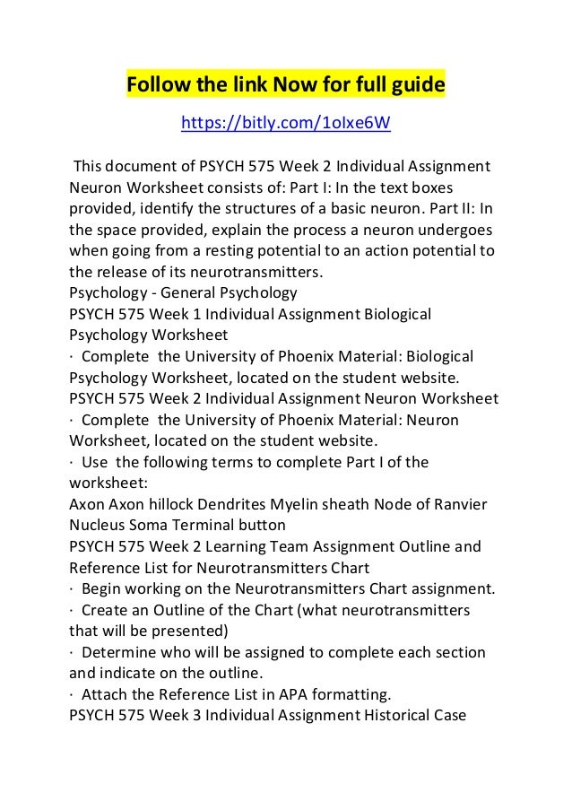 Psych 575 week 2 individual assignment neuron worksheet – Neuron Worksheet