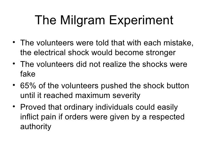 an analysis of a controversial experiment with shock treatments by milgram Milgram's famous experiment contained 23 small-sample conditions that elicited striking variations in obedient responding a synthesis of these diverse conditions could clarify the factors that influence obedience in the milgram paradigm we assembled data from the 21 conditions (n = 740) in .