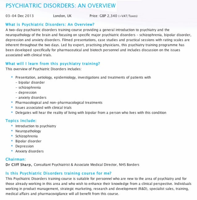 PSYCHIATRIC DISORDERS: AN OVERVIEW