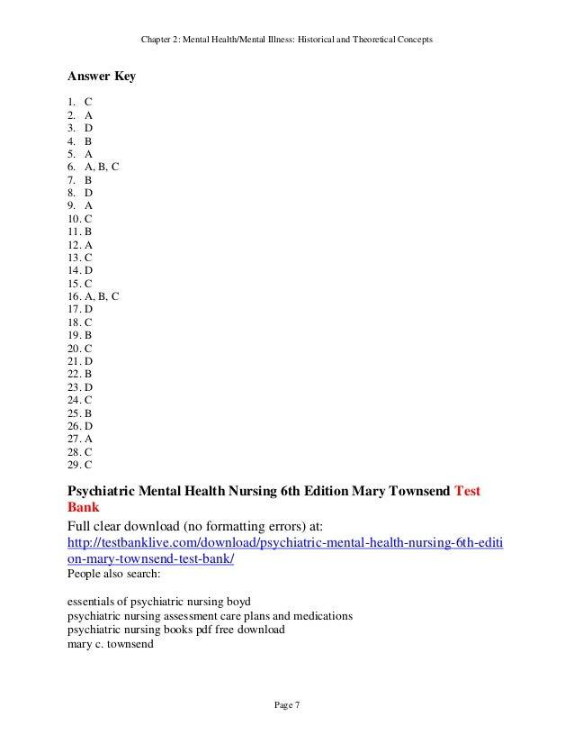 Psychiatric Mental Health Nursing 6th Edition Mary Townsend Test Bank