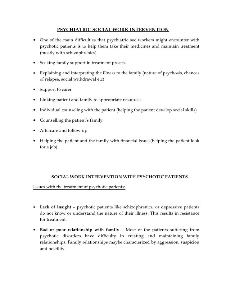 psychiatric social work intervention one of the main difficulties that psychiatric soc workers might encounter - Writing Sample For Social Work Job