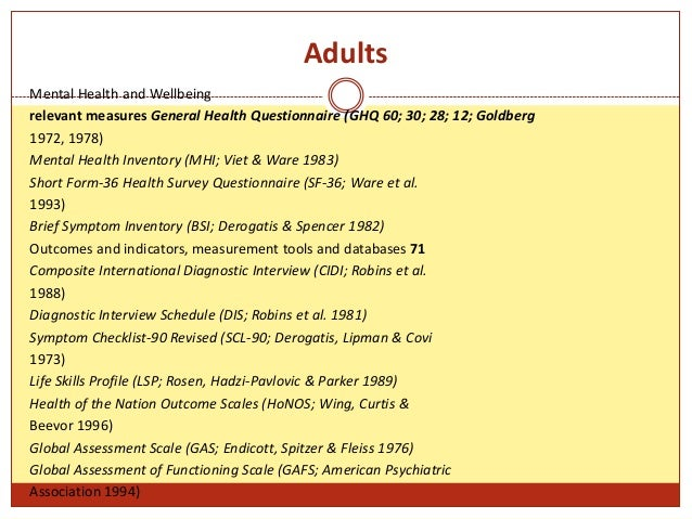 26 adults mental health and wellbeing relevant measures general health questionnaire