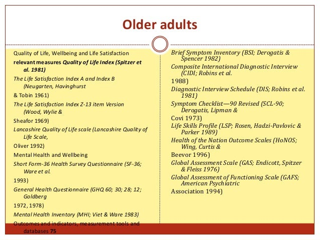 quality of life questionnaire for older adults