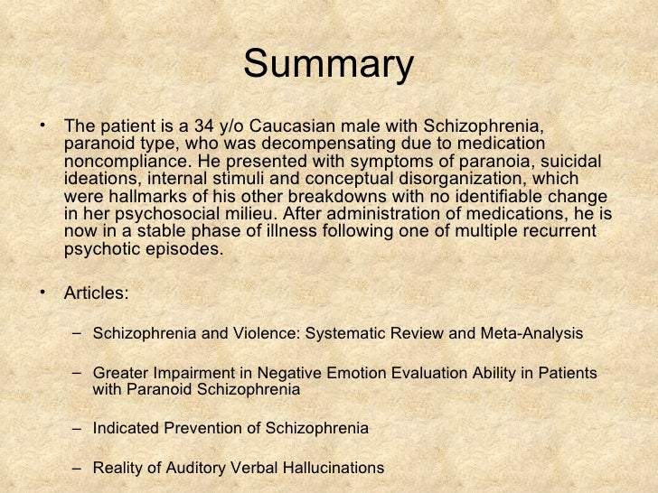 clinical case studies of schizophrenia