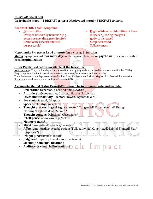 Psychiatry Cheat Sheet Mdd Gad Bipolar