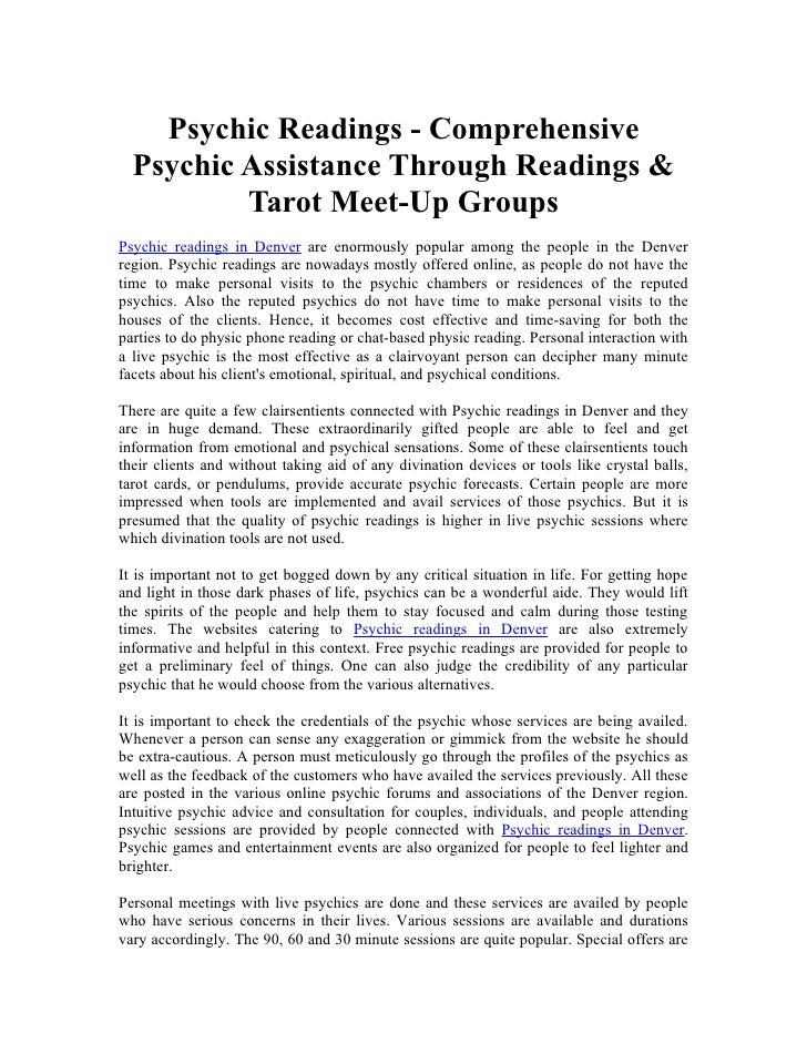 Psychic Readings - Comprehensive   Psychic Assistance Through Readings &           Tarot Meet-Up Groups Psychic readings i...