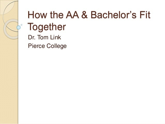 How the AA & Bachelor's Fit Together Dr. Tom Link Pierce College