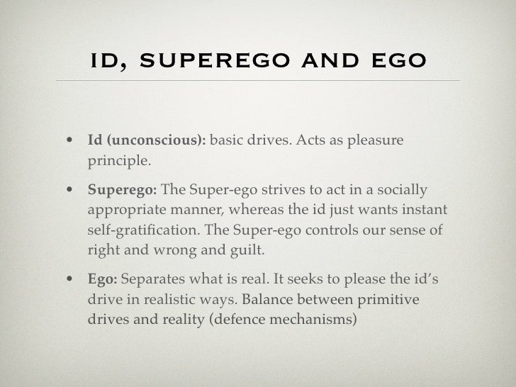 ego id and superego essay Id, ego, and superego essays: over 180,000 id, ego, and superego essays, id, ego, and superego term papers, id, ego, and superego research paper, book reports 184 990 essays, term and research papers available for unlimited access.