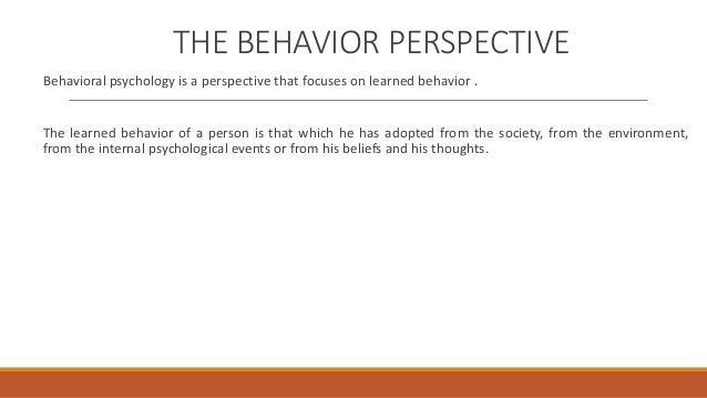 behavioral perspective psychology