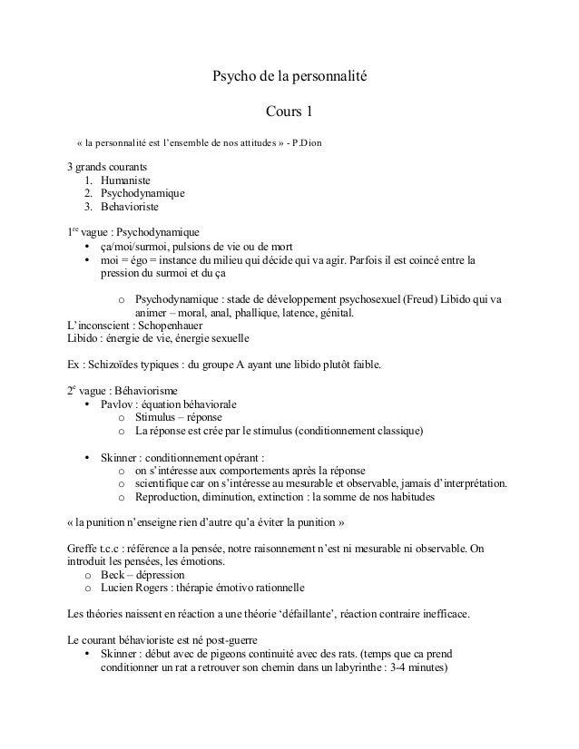 Psycho de la personnalité Cours 1 « la personnalité est l'ensemble de nos attitudes » - P.Dion 3 grands courants 1. Humani...