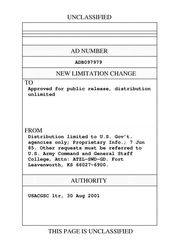 UNCLASSIFIED  AD NUMBER  ADB097979  NEW LIMITATION CHANGE  TO  Approved for public release, distribution  unlimited  FROM ...