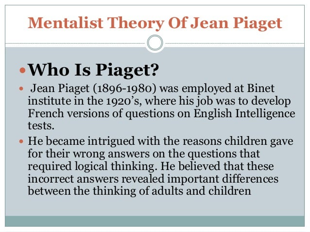 jean piagets theory of development essay