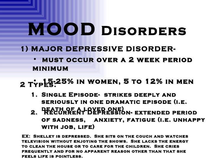 psych mood disorder Mood or affective disorders if you are going to suffer from a disorder, chances are it will be a mood disorder mood disorders are characterized by extreme or.