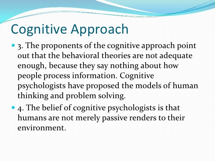 proponent of cognitive theory