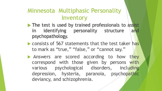 development of the minnesota multiphasic personality Minnesota multiphasic personality inventory definition is - a test of personal and  social adjustment based on a complex scaling of the answers to an elaborate.