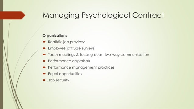 psychological contract and organizational behaviour essay Individual differences essay it is defined as the stabilised patterns and psychological states they would be more likely to perform organizational behaviour.