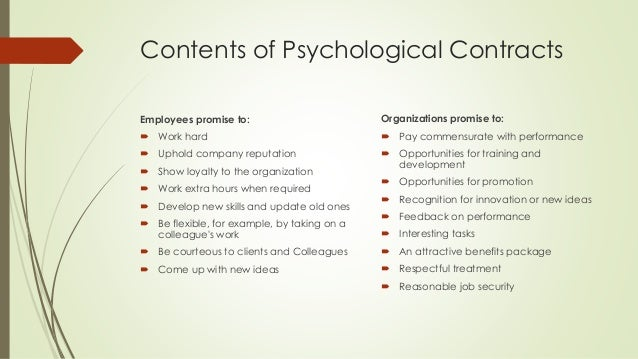 "what is psychological contract Psychological contract : psychological contract ""psychological contracts are the beliefs individuals hold regarding the terms and conditions of the exchange agreement between themselves and their organisations ."